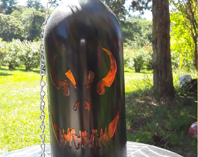 Halloween wine bottle lanterns