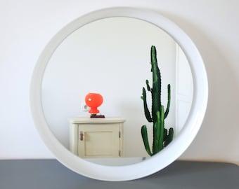 XL Vintage White Guzzini Round Wall Mirror / Mid Century Modern Round Wall Mirror / Space Age Mirror / Space Age Furniture / 70s Mirror