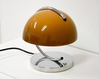 Rare Caramel Brown Vintage Meblo Guzzini Mushroom Desk Lamp by Luigi Massoni / Space Age Bedside Lamp / Mid Century Table Lamp / MCM Lamp