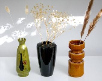 Set of 3 Vintage Ceramic Vases Black Green Brown/ Vintage Vase Dried Flower Bouquet / Mid Century Modern Decor / Gift for Her / Yugoslavia