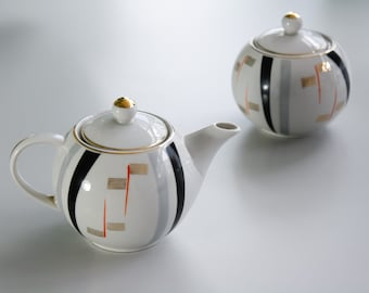 Set of Vintage Porcelain Teapot and Sugar Bowl with Lid and Gold Details / RPR Riga Made in USSR Porcelain Coffee Tea Espresso Set /