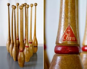Rare Antique set of 10 Wooden Juggling Pins by Elan / Vintage Bowling Set Elan Yugoslavia / Juggling Pins / Rustic Primitive Boho Decor