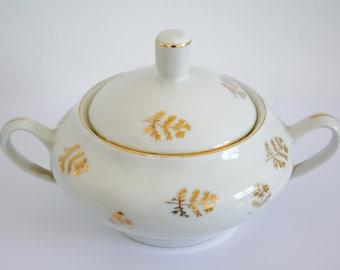 Vintage Porcelain Sugar Bowl with Lid and Gold Details / Titov Veles Jugoporcelan Sugar Container / Vintage Porcelain / Retro Kitchen Decor