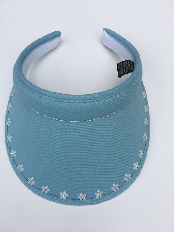 Ladies golf visor visor with bling handmade with diamante flowers ... aa64f1c6b8a
