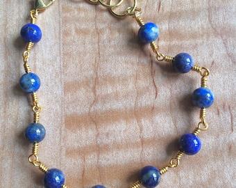Lapis Lazuli Wire Wrapped Bracelet