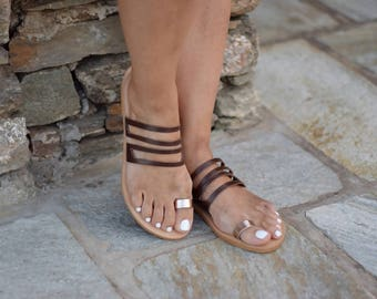 Toe Greek leather sandal with brown strap and pink gold toe,Womens Shoes, Handmade natural leather sandals