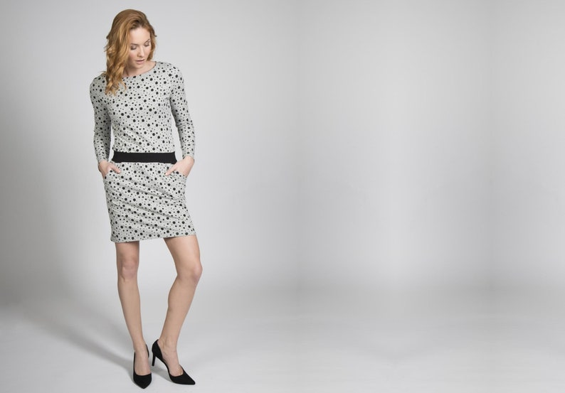 Dress Juna dots black grey image 0