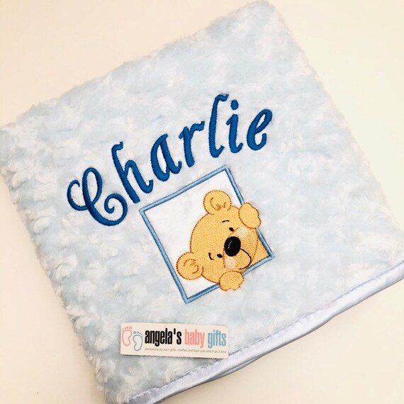 Gold Crown Embroidered New Born Blue Gift Personalised Baby Boy Prince Blanket