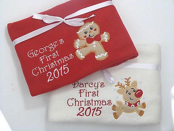 Christmas Fleece.First Christmas Baby Blanket Christmas Fleece Blanket 2019 Reindeer Baby Blanket Gingerbread Man Fleece