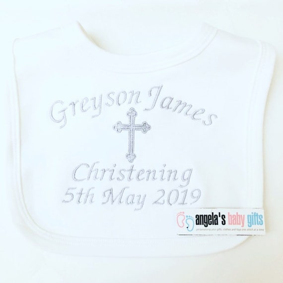 ;birth details gift baby shower cotton satin Baby personalised bibs christening