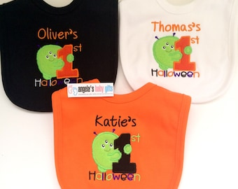 First Halloween personalised embroidered baby bib girl or boy