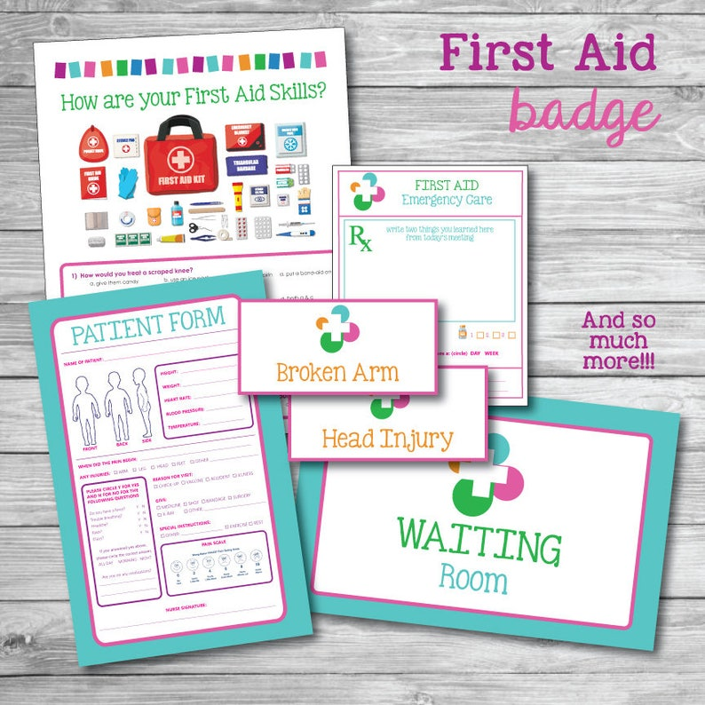 graphic relating to First Aid Printable named Lady Scout Initially Help Badge Printable Package Health care provider Medical center