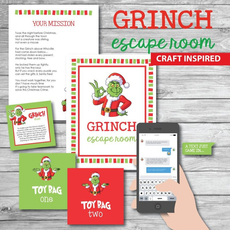 Girl Scout Youth Group Troop Christmas Grinch Escape Room Activity Game  Crafts and Decoder Santa Claus