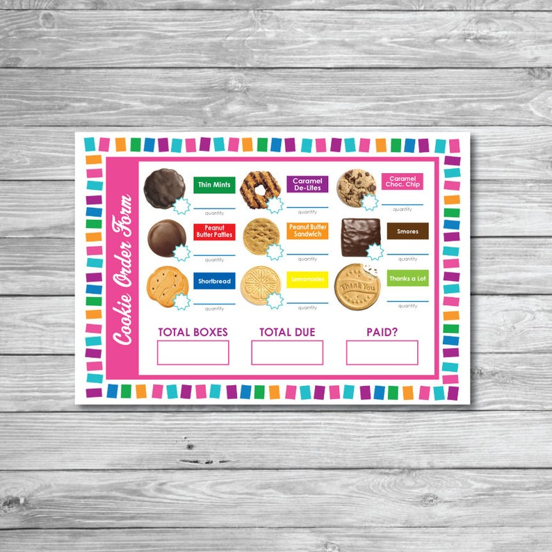 graphic regarding Girl Scout Cookies Order Form Printable known as Lady Scouts Cookie Get Variety Printable Scouting Thank Oneself ABC