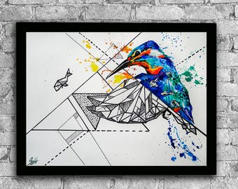Kingfisher watercolor print, Kingfisher art, Kingfisher print, Watercolor bird, Bird print, Bird wall art, Bird art print, Bird art
