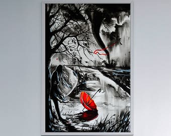 Tornado watercolor art print, Girl room decor, Girl art, Girl decor, Tornado, Dorothy, Wizard of Oz, Wizard of Oz art, Wizard of Oz print,
