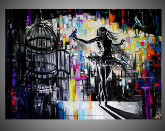 Cage oil painting, Ballerina painting, Ballet painting, Ballerina picture, Ballet picture, Ballet artwork, Ballerina artwork, Dance painting