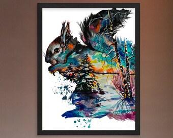 Frozen shadows watercolor print, Watercolor squirrel, Nursery print, Squirrel art print, Squirrel print, Squirrel decor, Large print