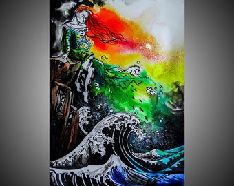 The Little Mermaid watercolor painting, Little mermaid painting, Mermaid painting, Little mermaid art, Mermaid art, Watercolor mermaid