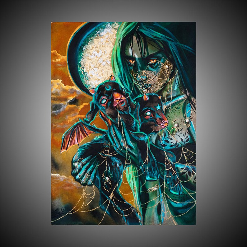 Macabre art Gothic home decor Witch art Witch Gothic print Gothic wall art Gothic decor Gothic art Gothic The Call print Macabre