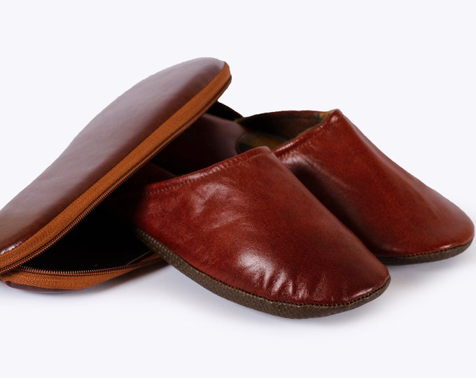 Brown Leather Travel Slippers With Case - For Men And Women!