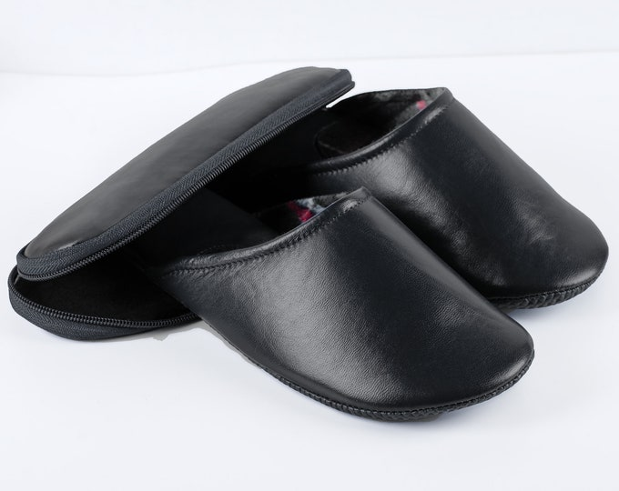 Black Leather Travel Slippers With Case - For Men And Women!