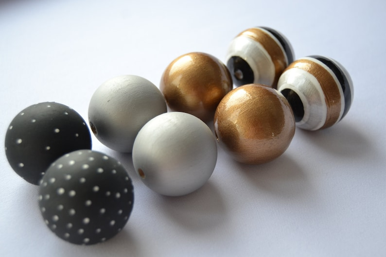 WOODEN BEADS SET 99 hand painted wooden beads black silver image 0