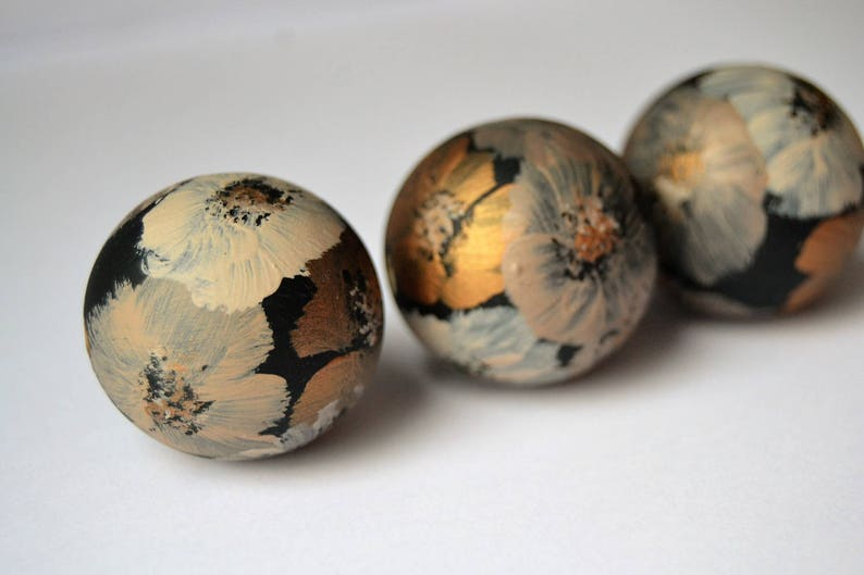 WOODEN BEADS SET 114 hand painted wooden beads wooden bead image 0