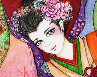 ORIGINAL Japanese Princess Kimono Geisha Art Print