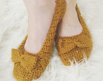 Ballet Slippers Crochet Pattern/ Easy Slippers Crochet Pattern/Beginner Slippers/ Women's Slippers Crochet Pattern/ Fitted Slippers/ Gemma