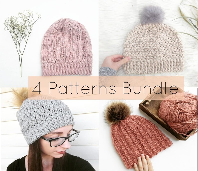 56ddea7c19a Crochet Hats Pattern Bundle  Beanie Bundle  Crochet Patterns