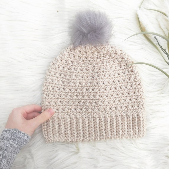 Easy Hat Crochet Pattern  Beginner Beanie Pattern  Womens and  c50ef2b1c7e