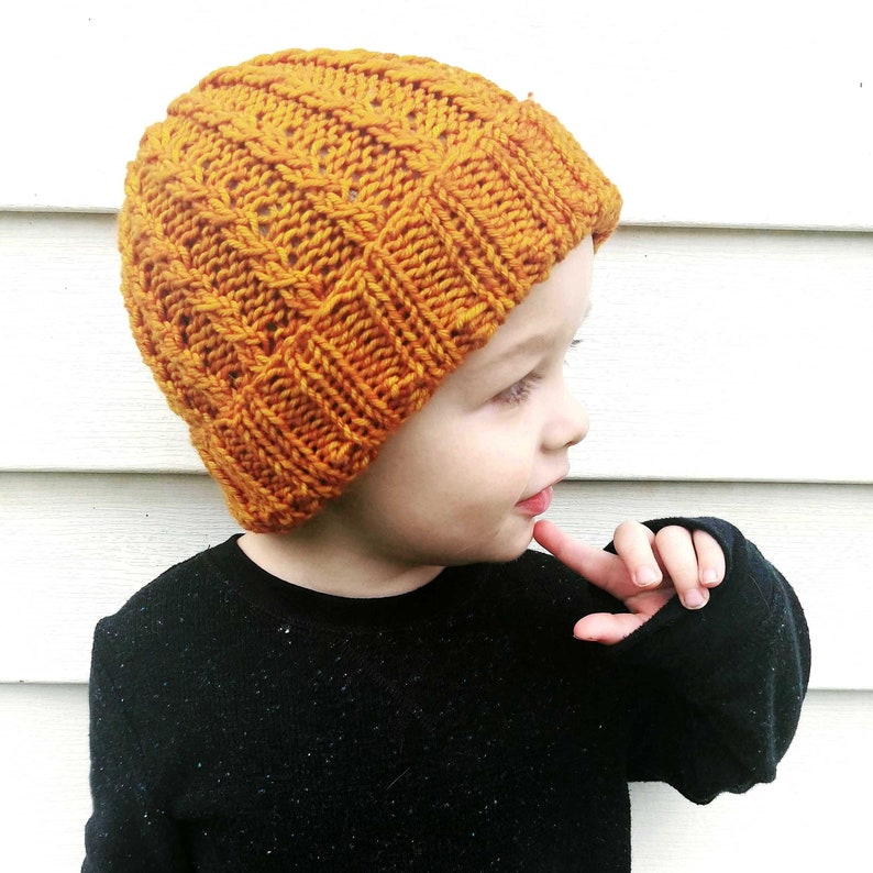 81710aeb Ribbed Knit Beanie Pattern/ Knitting Pattern for Toddler | Etsy
