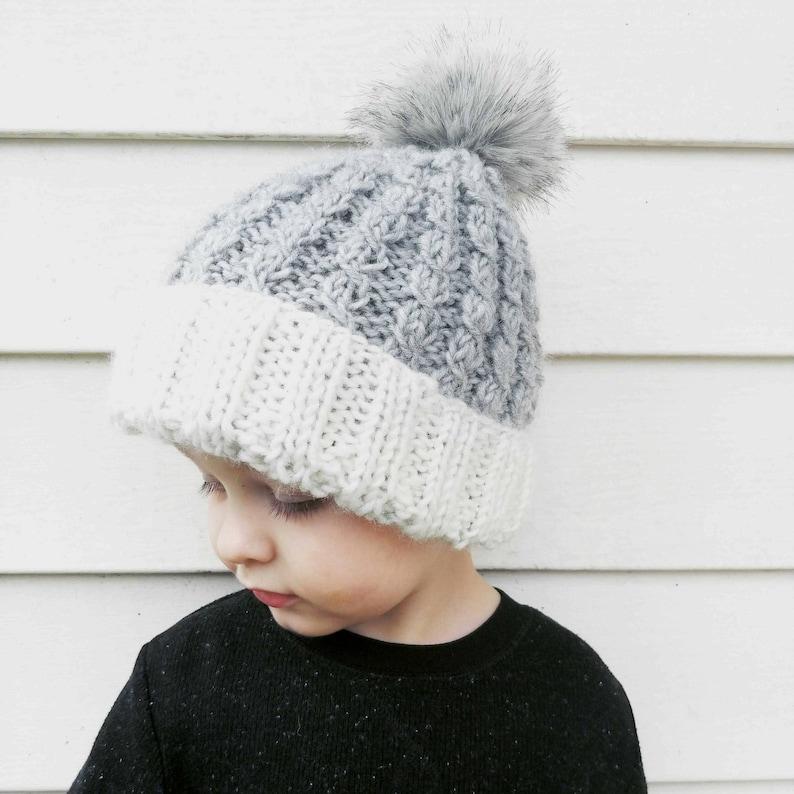 96fc8056 Child's Ribbed Beanie/ Gray Winter Hat/ Children's | Etsy