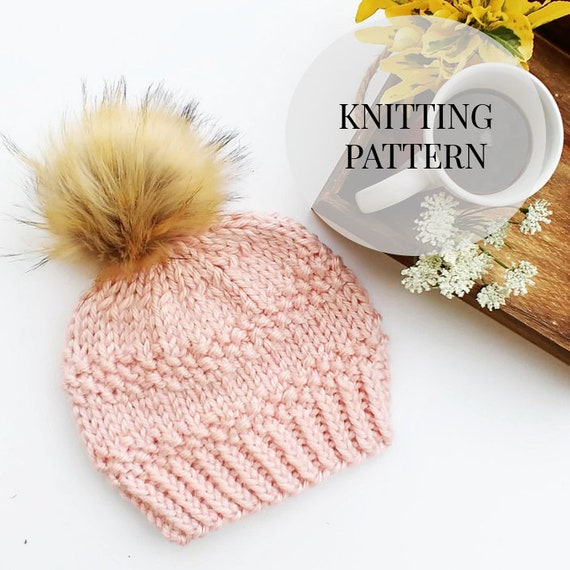 Easy Knitting Pattern Beginner Hat Pattern Beginner Beanie Easy Toque Knitted Womens Beanie The Gamora Beanie Seed Stitch Bulky Yarn