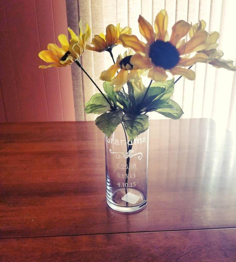 Personalized Vase Custom Vases Personalized Vase For Mom Grandma Custom Etched Vase Custom Gift For Mom Create Your Own Vase