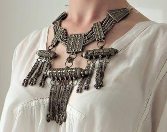 Antique Silver Yemeni Kirdan Lazem, Bridal Neckpiece, Bedouin Nomad Ethnic Yemen