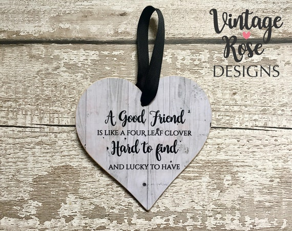 Friends Are Like Four-Leaf Clovers Wooden Friendship Hanging Plaque