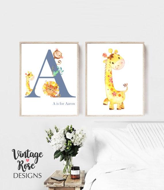 Safari Animal Baby Nursery Prints,PERSONALISED NAME girl or boy nursery wall art