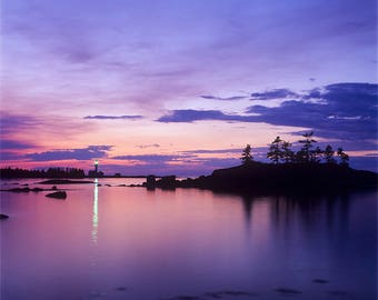 Pointe Mitis lighthouse at dusk, Métis-sur-Mer, Gaspe Coast