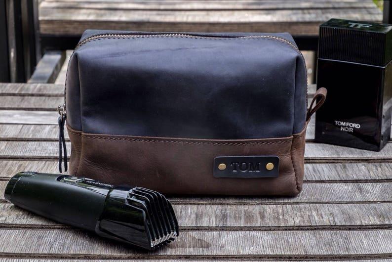 94d4cc0ffa Leather Toiletry Bag Travel Shaving dopp Kit Gift for Man