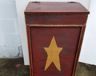 Primitive Country Top Lift Trash or Laundry Bin Wood