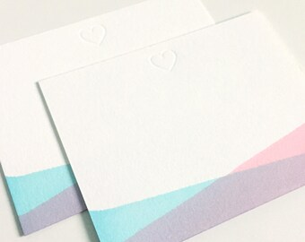 Love Note Flat A2 Stationery Set of 8 - Pink and Blue