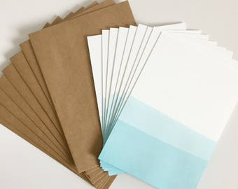 Dip Dyed Flat Note Card Stationery Set of 8 - Blue