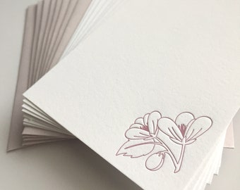 Flower note A2 Letterpressed Stationery Set of 8 - pink