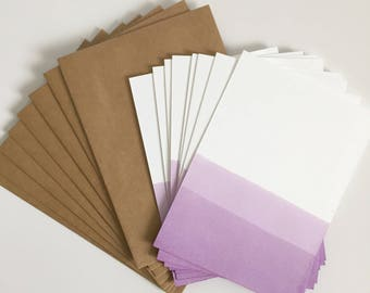 Dip Dyed Flat Note Card Stationery Set of 8 - Purple