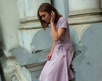 Wrap linen dress. Dusty pink linen dress. Handmade dress. Made to order linen dress