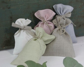 Small Pastel Colors Linen Gift Bags SET OF 10 Favor Bag Fabric Wedding Birthday