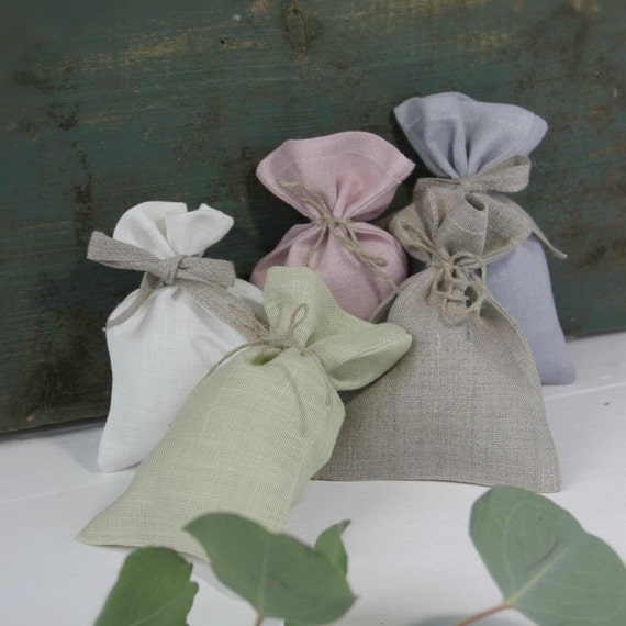 Small Pastel Colors Linen Gift Bags SET OF 10 Favor