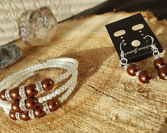 White with brown pearl bracelet with crystal beads and pearl earrings